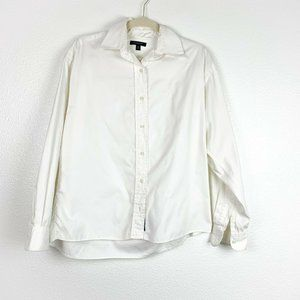 Burberry White Satin Classic Fit Button Up Shirt